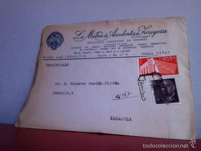 Cartas comerciales: LA MUTUA DE ACCIDENTES DE ZARAGOZA 1958 - Foto 2 - 167534874