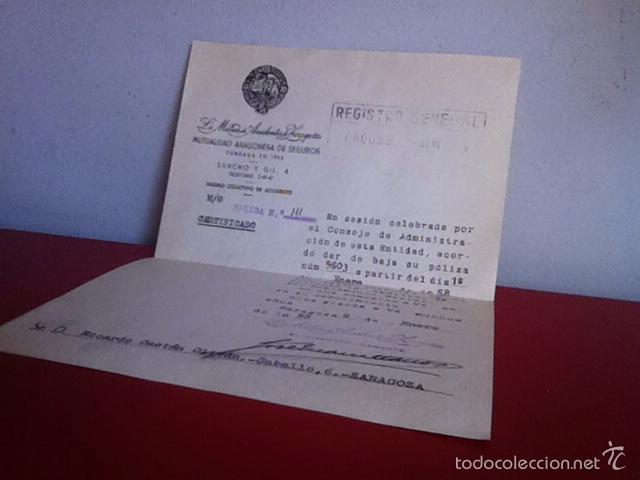 Cartas comerciales: LA MUTUA DE ACCIDENTES DE ZARAGOZA 1958 - Foto 3 - 167534874