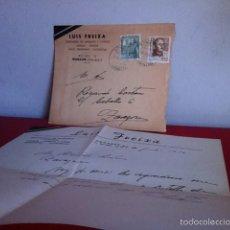 Cartas comerciales: DESTILERÍAS. LUIS FREIXA ( NONASPE) ZARAGOZA 1956. Lote 167535181