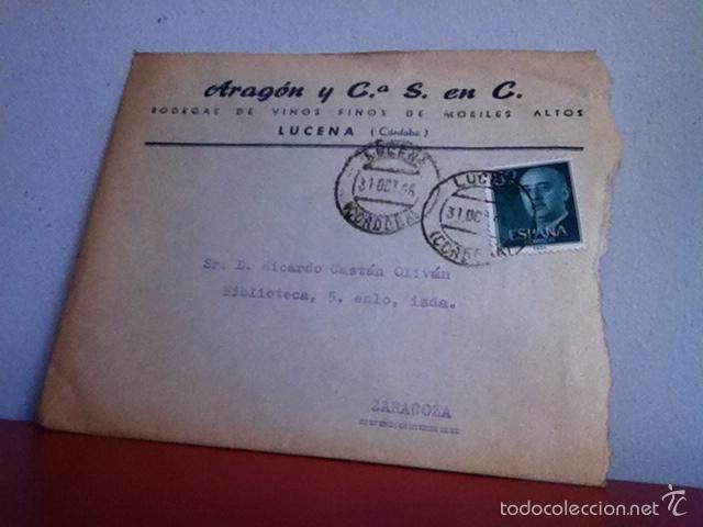BODEGA DE VINOS Y FINOS DE MORILES. LUCENA( CÓRDOBA) 1956 (Coleccionismo - Documentos - Cartas Comerciales)