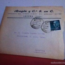 Cartas comerciales: BODEGA DE VINOS Y FINOS DE MORILES. LUCENA( CÓRDOBA) 1956. Lote 167535681