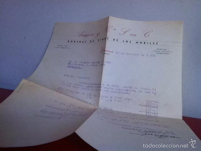 Cartas comerciales: Bodega de Vinos y Finos de Moriles. LUCENA( Córdoba) 1956 - Foto 2 - 167535681
