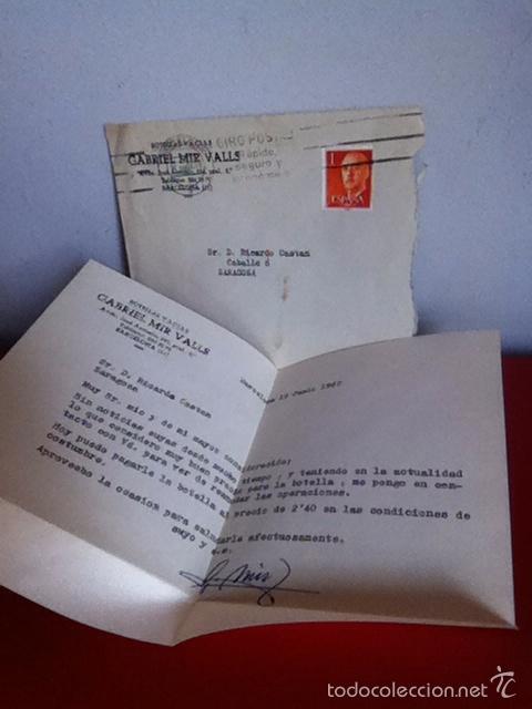 BOTELLAS VACÍAS GABRIEL MIR VALLS ( BARCELONA) 1962 CARTA Y SOBRÉ COMERCIAL (Coleccionismo - Documentos - Cartas Comerciales)