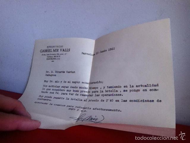 Cartas comerciales: Botellas Vacías GABRIEL MIR VALLS ( Barcelona) 1962 carta y sobré comercial - Foto 3 - 167721798