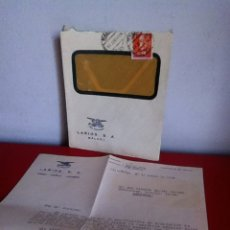 Cartas comerciales: LARIOS S.A( VINOS -COÑAC- LICORES) MÁLAGA 1959. Lote 167722057