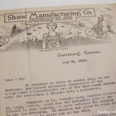 Cartas comerciales: CARTA DE SHAW MANUFACTURING CO. MOTORCYCLES. GALESBURG, KANSAS 1919.. Lote 168327064