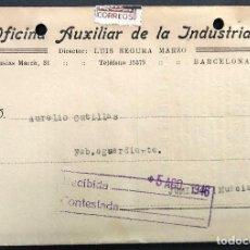 Cartas comerciales: OFICINA AUXILIAR DE LA INDUSTRIA - BARCELONA - CATÁLOGO TARJETA CON 12 PÁGINAS AÑO 1946. Lote 168417876