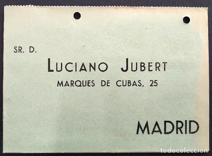 LUCIANO JUBERT - MADRID - ESTILOGRÁFICA REGIA CONTINUA - TARJETA DOBLE (Coleccionismo - Documentos - Cartas Comerciales)