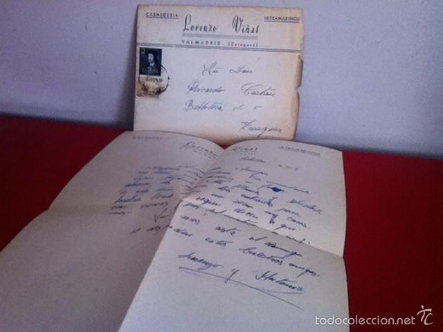 CARNECERIA LORENZO VIÑAS .VALMADRID( ZARAGOZA ) 1954 (Coleccionismo - Documentos - Cartas Comerciales)
