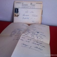 Cartas comerciales: CARNECERIA LORENZO VIÑAS .VALMADRID( ZARAGOZA ) 1954. Lote 168710393