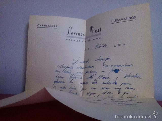 Cartas comerciales: CARNECERIA LORENZO VIÑAS .VALMADRID( Zaragoza ) 1954 - Foto 3 - 168710393