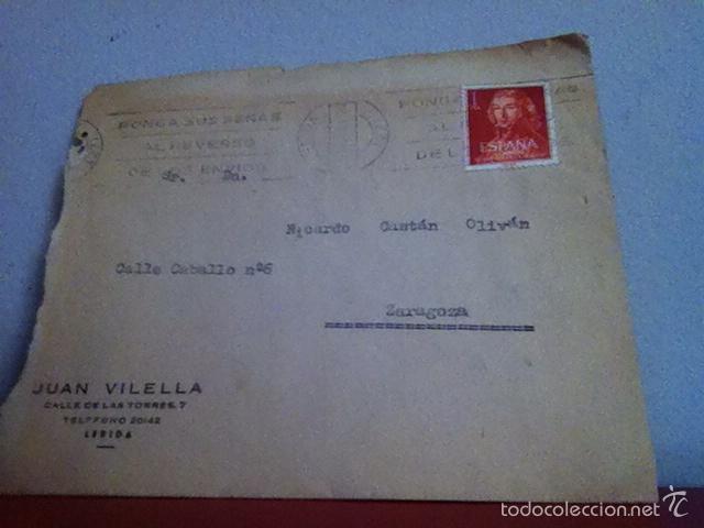 JUAN VILELLA ( LÉRIDA) 1961. EXPLOTACIÓN GENERAL DE TRAPOS (Coleccionismo - Documentos - Cartas Comerciales)