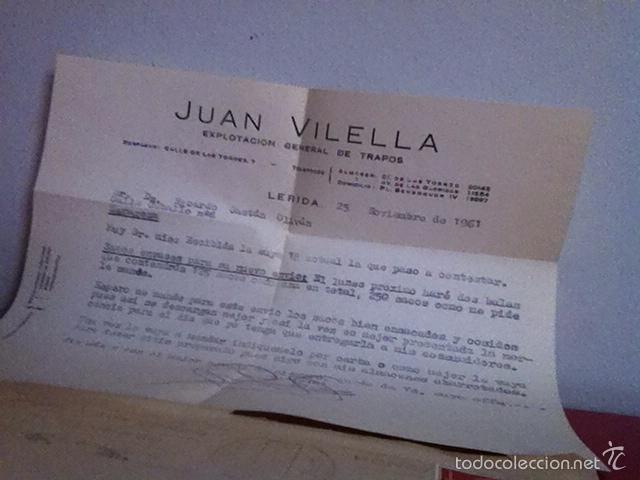 Cartas comerciales: JUAN VILELLA ( LÉRIDA) 1961. Explotación general de trapos - Foto 2 - 168710646