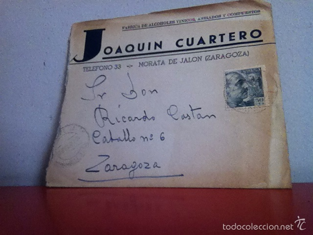 Cartas comerciales: Fabrica de Alcoholes. MORATA DE JALÓN ( Zaragoza ) 1953 - Foto 2 - 168714438