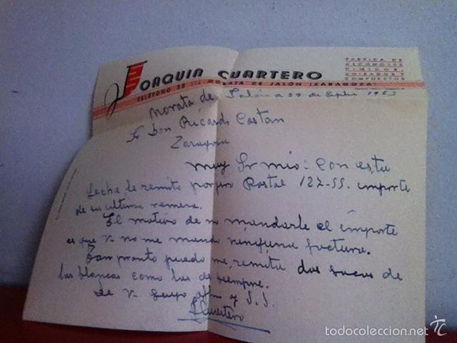 Cartas comerciales: Fabrica de Alcoholes. MORATA DE JALÓN ( Zaragoza ) 1953 - Foto 3 - 168714438