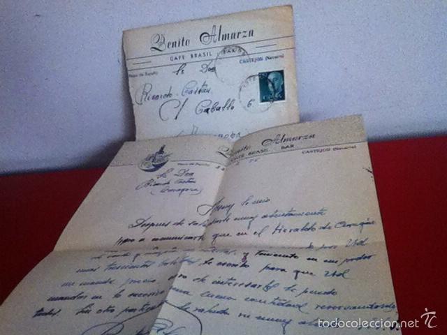 CAFÉ BRASIL . CASTEJON ( NAVARRA) 1955 (Coleccionismo - Documentos - Cartas Comerciales)