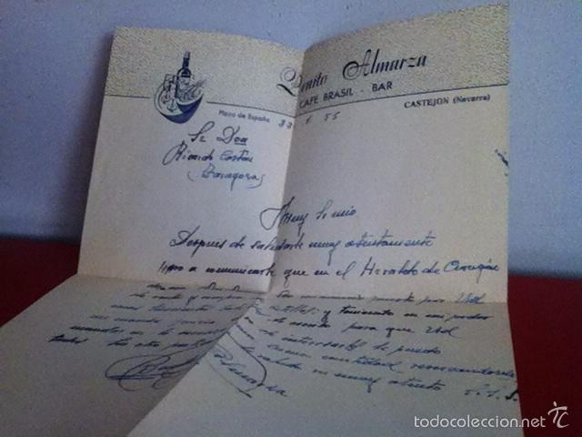 Cartas comerciales: CAFÉ BRASIL . CASTEJON ( Navarra) 1955 - Foto 3 - 168715026