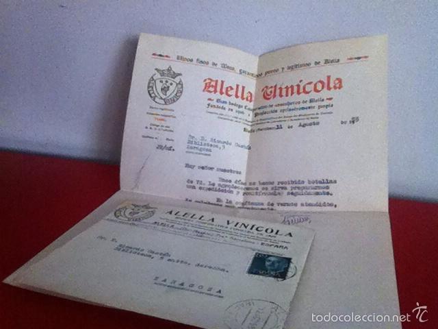 ALELLA VINICOLA. ALELLA ( BARCELONA) 1955 (Coleccionismo - Documentos - Cartas Comerciales)