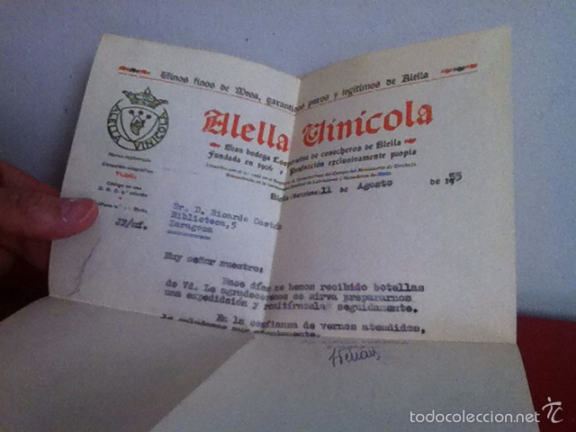 Cartas comerciales: ALELLA VINICOLA. ALELLA ( Barcelona) 1955 - Foto 3 - 168715504