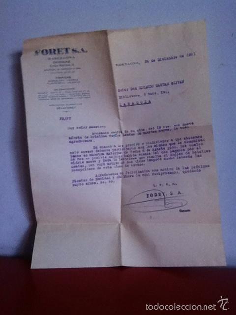Cartas comerciales: FORET S.A. ( BARCELONA) 1951 - Foto 3 - 168716522