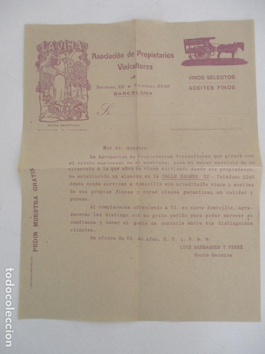 CARTA ASOCIACIÓN DE PROPIETARIOS VINICULTORES - LA VIÑA - VINOS SELECTOS, ACEITES FINOS (Coleccionismo - Documentos - Cartas Comerciales)