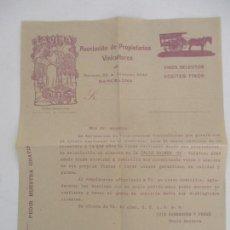 Cartas comerciales: CARTA ASOCIACIÓN DE PROPIETARIOS VINICULTORES - LA VIÑA - VINOS SELECTOS, ACEITES FINOS. Lote 169581848
