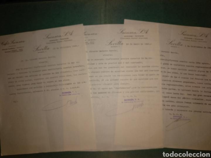 CAFÉS SAIMAZA. COSECHEROS, ACEITES Y ACEITUNAS. SEVILLA. 1942/43 (Coleccionismo - Documentos - Cartas Comerciales)