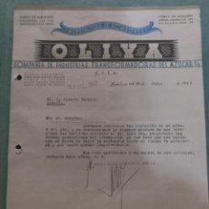 Cartas comerciales: MANUFACTURA DE BOMBONES OLIYA. TRANSFORMADORAS DEL AZÚCAR. BADALONA. 1942.. Lote 169766310