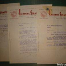Cartas comerciales: ENRIQUE GIBANEL. BANDERAS DE TODAS CLASES. FOQUEL. PAPELERÍA. 1942. BARCELONA. Lote 169766598