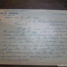 Cartas comerciales: CARTA COMERCIAL. HOTEL MADRID (ANTES MAJESTIC) BADAJOZ. 1942.. Lote 169767806