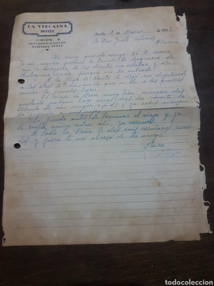 LA VIZCAÍNA HOTEL. SEVILLA. 1946. (Coleccionismo - Documentos - Cartas Comerciales)