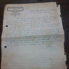 Cartas comerciales: LA VIZCAÍNA HOTEL. SEVILLA. 1946.. Lote 169767860