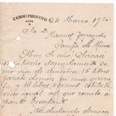 Cartas comerciales: CASINO PRIMITIVO. ASPE. ALICANTE. 1920. Lote 169789436