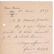Cartas comerciales: CASINO PRIMITIVO. ASPE. ALICANTE. ENERO 1917. Lote 169789484