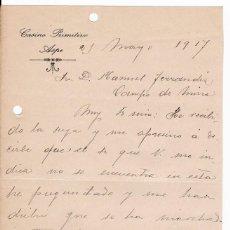 Cartas comerciales: CASINO PRIMITIVO. ASPE. ALICANTE. MAYO 1917. Lote 169789540
