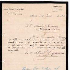Cartas comerciales: COMISIONISTA PESCADO. ALICANTE. 1914. Lote 169791024