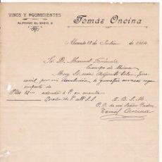 Cartas comerciales: VINOS Y AGUARDIENTES. ALICANTE. 1914. Lote 169791096