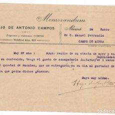 Cartas comerciales: CARTA COMERCIAL. COMISIONISTA PESCADO. ALICANTE, 1917. Lote 169791812