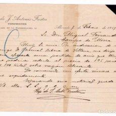 Cartas comerciales: CARTA COMERCIAL. COMISIONISTA. ALICANTE, 1917. Lote 169792000