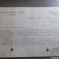 Cartas comerciales: CARTA COMERCIAL J.RODRIGEZ DEL TORO BERJA ALMERÍA 1942. Lote 169976770