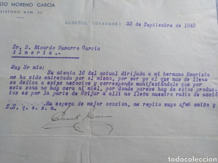 CARTA COMERCIAL ERNESTO MORENO GARCÍA ALBUÑOL 1942 (Coleccionismo - Documentos - Cartas Comerciales)