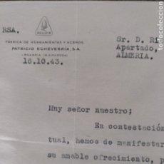 Cartas comerciales: BELLOTA FABRICA DE HERRAMIENTAS Y ACEROS 1943. Lote 170261393