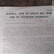 Cartas comerciales: CARTA DE PETICIÓN DE LIMOSNAS PARA LA RECONSTRUCCIÓN DEL SANTUARIO PATRONAL DE ALMERÍA VIRGEN DEL M. Lote 170262601