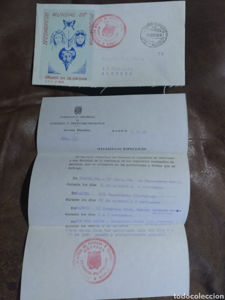 CARTA SECCIÓN FILATÉLICA PROVISIÓN ALMERÍA 1968. IV CONGRESO MUNDIAL PSIQUIATRÍA MATASELLOS ESPECIAL (Coleccionismo - Documentos - Cartas Comerciales)
