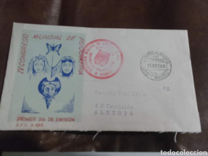Cartas comerciales: Carta Sección filatélica provisión Almería 1968. IV Congreso Mundial Psiquiatría Matasellos especial - Foto 2 - 170557816