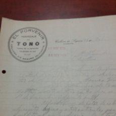 Cartas comerciales: CALLOSA DE SEGURA ALICANTE EL PORVENIR 1923. Lote 171142945