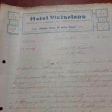 Cartas comerciales: GRANADA HOTEL VICTORIANO 1922. Lote 171143198