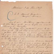 Cartas comerciales: CARTA MANUSCRITA. COMERCIO LICORES. MONÓVAR. ALICANTE. 1917. Lote 171236522