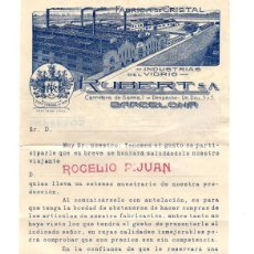 Cartas comerciales: BARCELONA.- INDUSTRIA DEL VIDRIO RUBERT. Lote 171703172