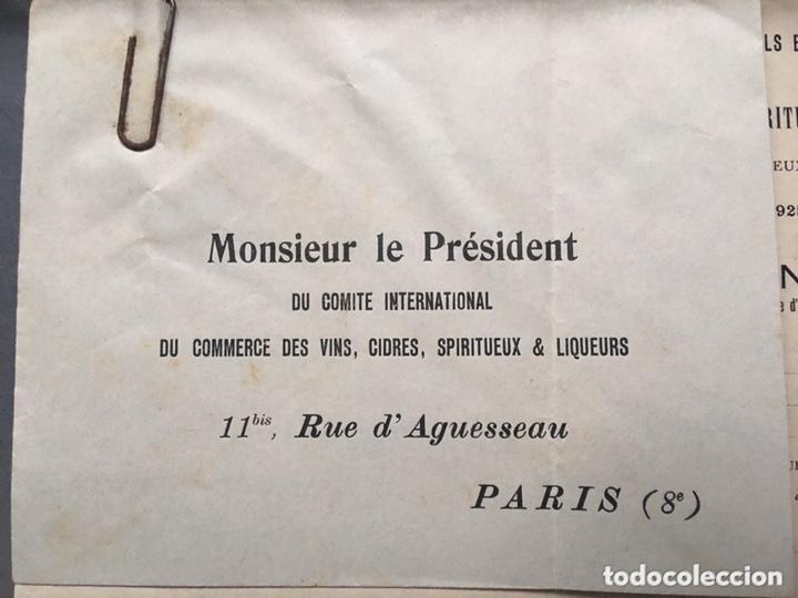 Cartas comerciales: Comité internacional de comercio de vino licores Paris 1925 - Foto 2 - 172254694